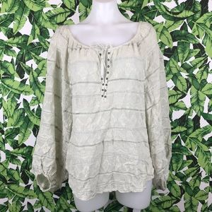 Free People Ivory Embroidered Lace Lace Up Blouse